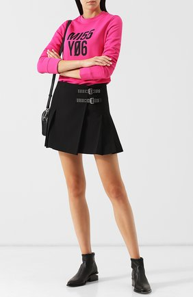 Однотонная мини-юбка в складку REDVALENTINO черная | Фото №1