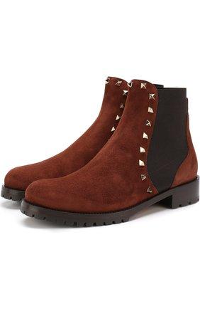 Замшевые ботинки Valentino Garavani Rockstud с внутренней отделкой из овчины | Фото №1
