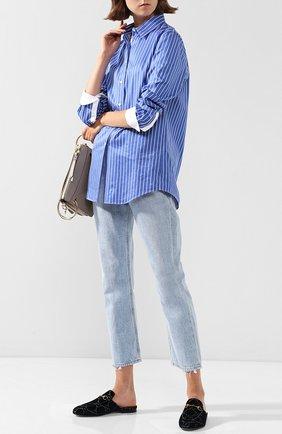 Женские бархатные сабо princetown gg с пряжкой-трензелем GUCCI темно-синего цвета, арт. 475094/9JT20 | Фото 2