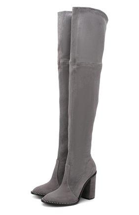 Замшевые ботфорты на устойчивом каблуке Casadei светло-серые   Фото №1