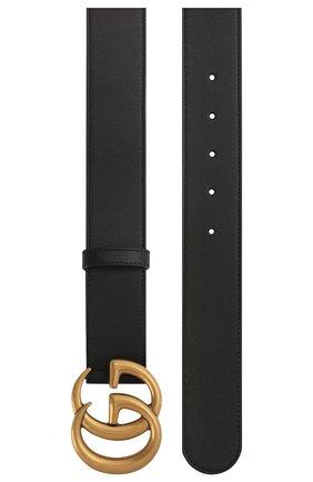 Мужской кожаный ремень с фигурной пряжкой GUCCI черного цвета, арт. 397660/AP00T | Фото 2
