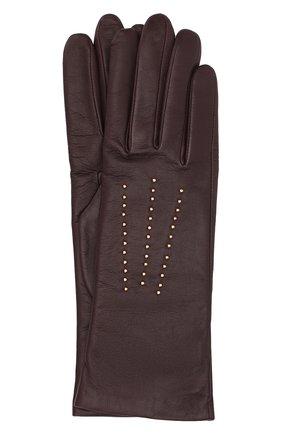 Кожаные перчатки с отделкой стразами | Фото №1