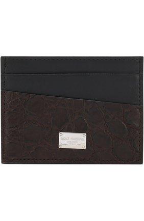 Мужской футляр для кредитных карт с отделкой из кожи каймана DOLCE & GABBANA коричневого цвета, арт. BP0330/A2Q71/CYAC | Фото 1
