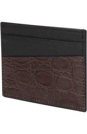 Мужской футляр для кредитных карт с отделкой из кожи каймана DOLCE & GABBANA коричневого цвета, арт. BP0330/A2Q71/CYAC | Фото 2
