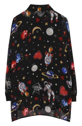 Детская блуза из вискозы свободного кроя Jakioo черного цвета | Фото №1