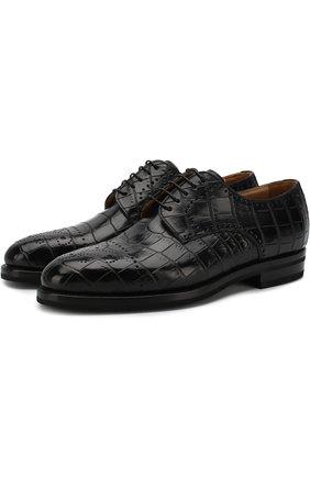 Мужской дерби g26 из кожи крокодила на шнуровке с брогированием KITON черного цвета, арт. USSDECHN00102/CNIL | Фото 1