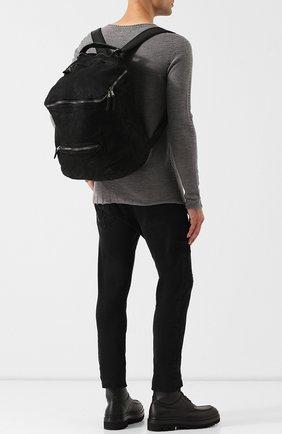 Кожаный рюкзак с внешним карманом на молнии Giorgio Brato черный | Фото №1
