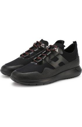 Комбинированные кроссовки на шнуровке Hogan черные | Фото №1