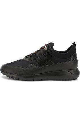 Комбинированные кроссовки на шнуровке Hogan черные | Фото №3
