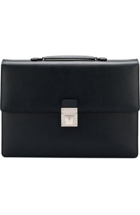 Кожаный портфель с плечевым ремнем Serapian темно-синий | Фото №1