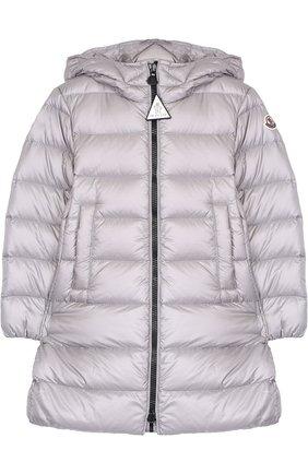 Стеганое пальто на молнии с капюшоном   Фото №1