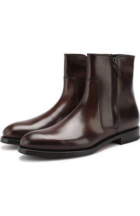 Кожаные сапоги на молнии W.Gibbs темно-коричневые | Фото №1