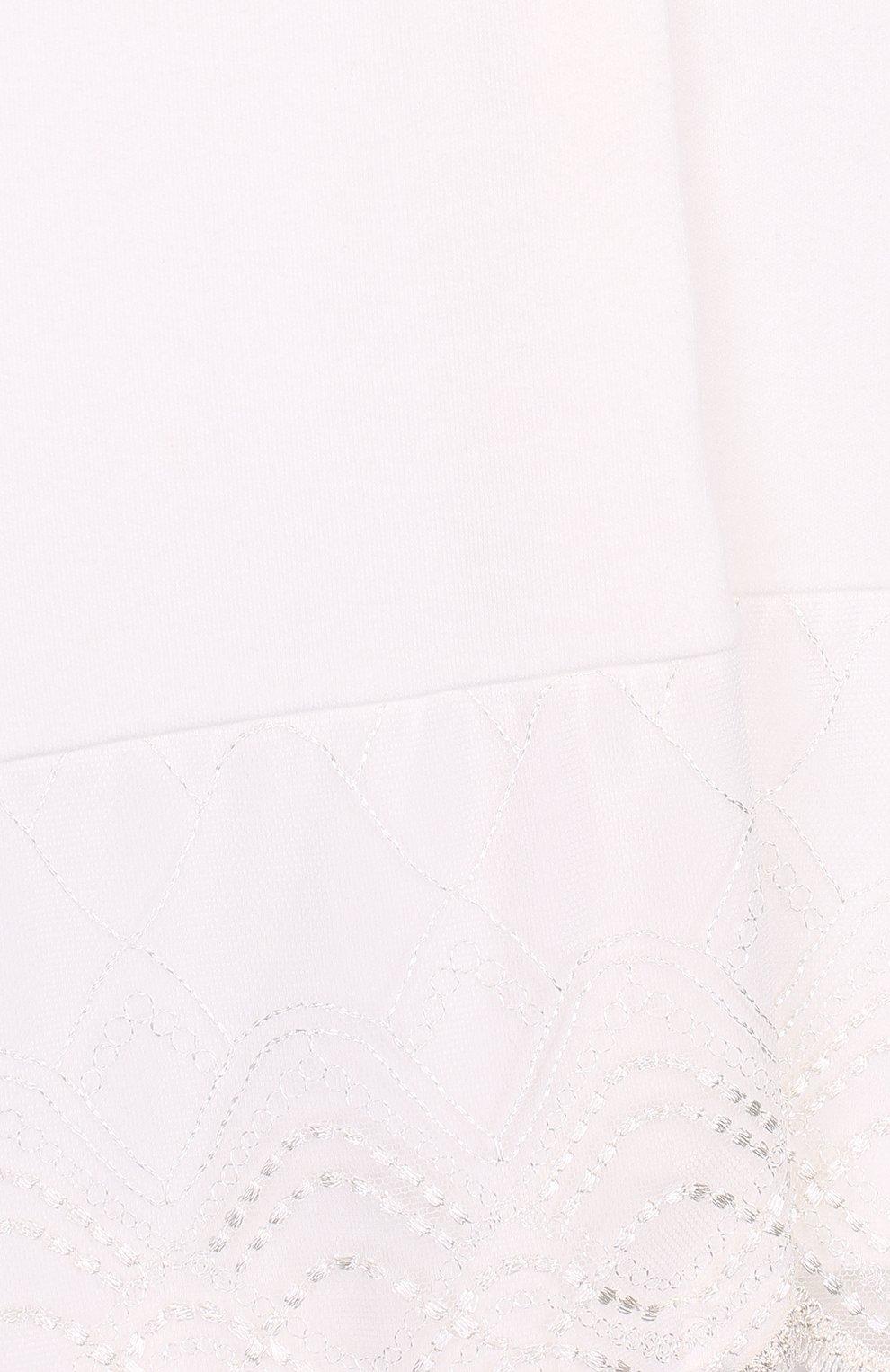 Детский хлопковый халат с кружевной отделкой LA PERLA бежевого цвета, арт. 54860/2A-6A   Фото 3