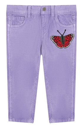 Детские вельветовые брюки с аппликацией GUCCI сиреневого цвета, арт. 527555/XBF06   Фото 1