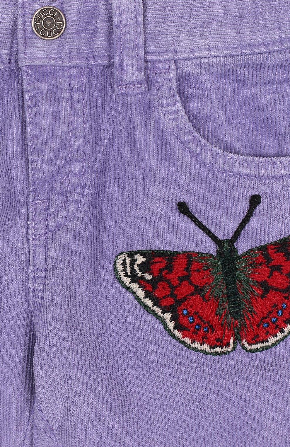 Детские вельветовые брюки с аппликацией GUCCI сиреневого цвета, арт. 527555/XBF06   Фото 3
