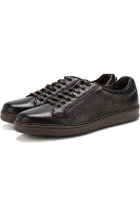 Кожаные кеды на шнуровке Barrett коричневые | Фото №1