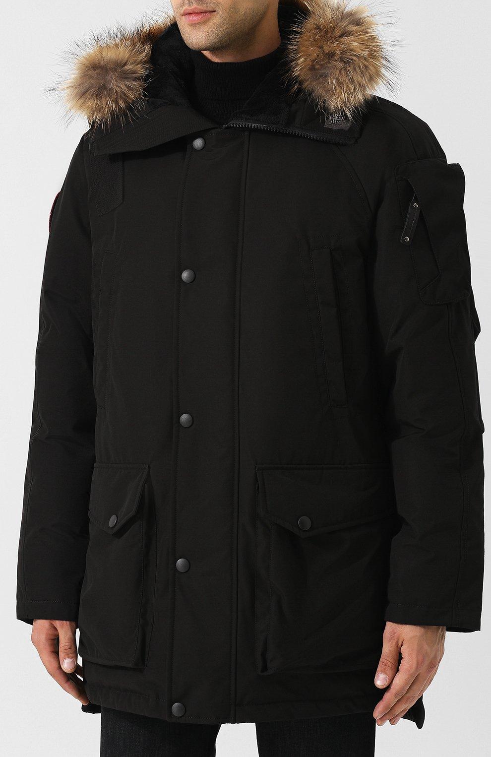 Мужская пуховая парка mir-1 с меховой отделкой капюшона ARCTIC EXPLORER черного цвета, арт. MIR_BLK   Фото 3