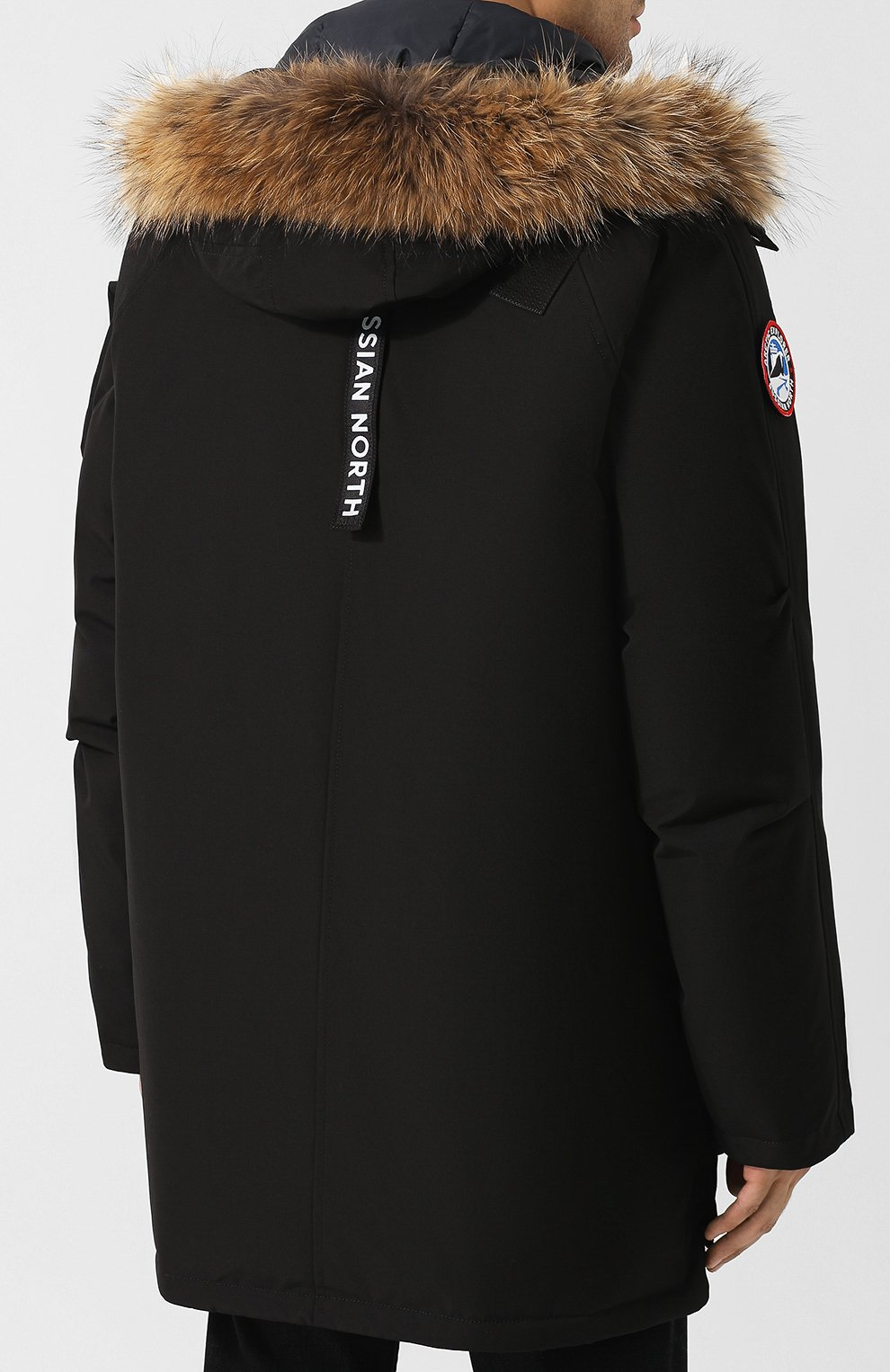 Мужская пуховая парка mir-1 с меховой отделкой капюшона ARCTIC EXPLORER черного цвета, арт. MIR_BLK   Фото 4