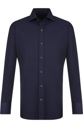 Мужская хлопковая сорочка с воротником кент TOM FORD темно-синего цвета, арт. 4FT194/94S1AX | Фото 1