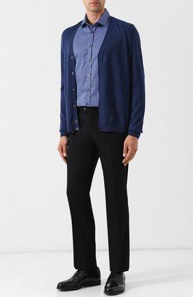 Хлопковая сорочка с воротником кент Sand темно-синяя | Фото №1