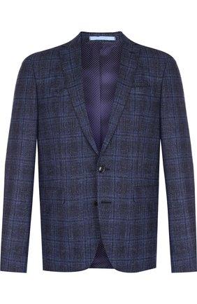 Однобортный пиджак из смеси шерсти и хлопка со льном Sand темно-синий | Фото №1