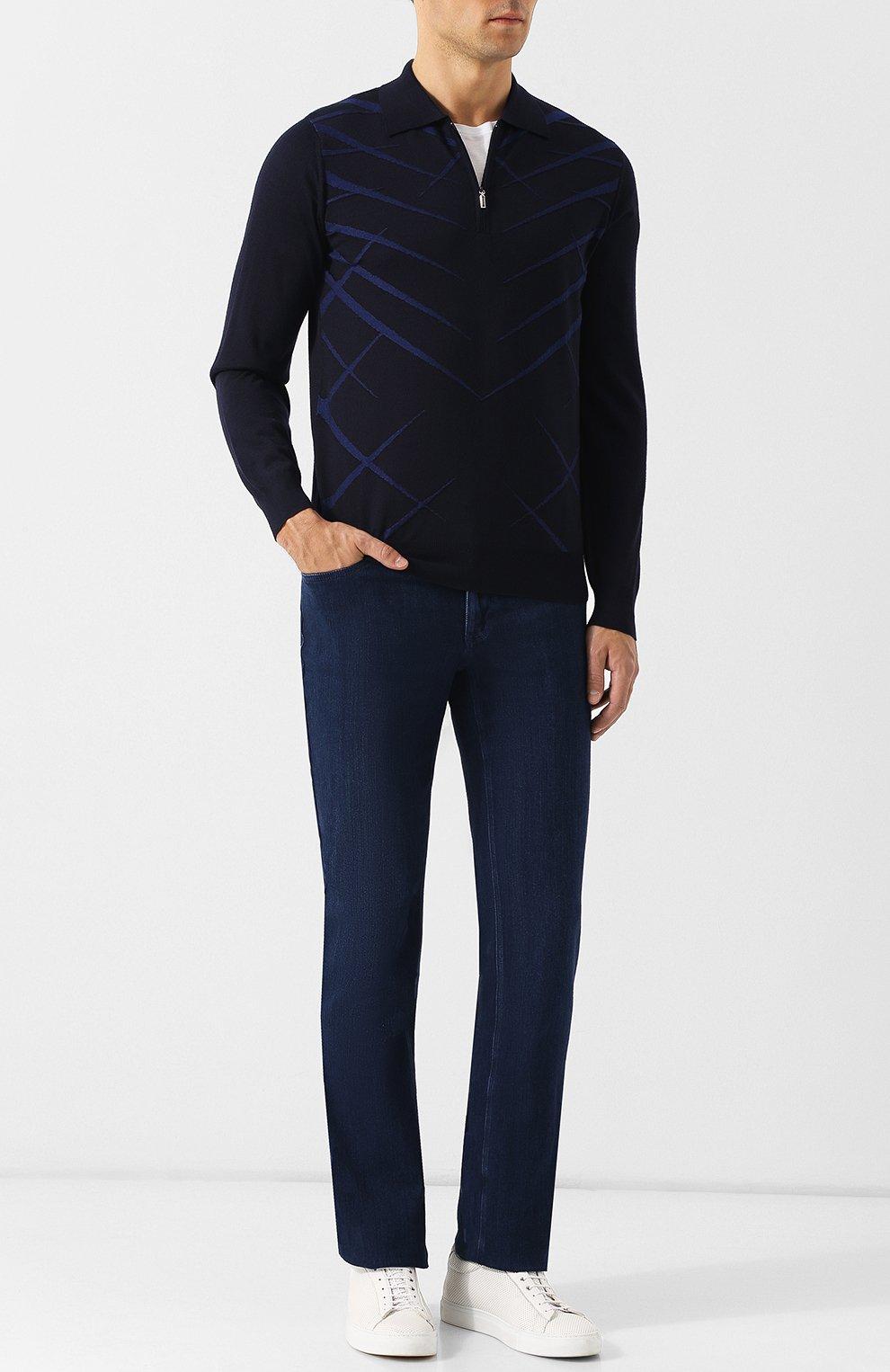 Мужские джинсы прямого кроя ZILLI синего цвета, арт. MCQ-00045-SUST1/R001 | Фото 2