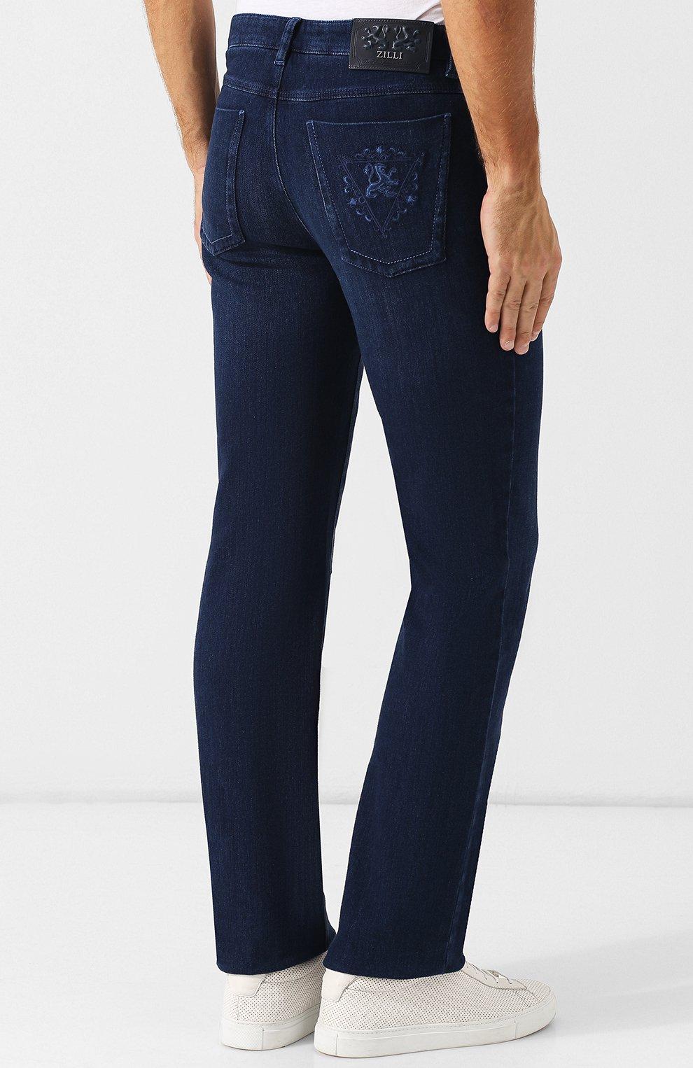 Мужские джинсы прямого кроя ZILLI синего цвета, арт. MCQ-00045-SUST1/R001 | Фото 4