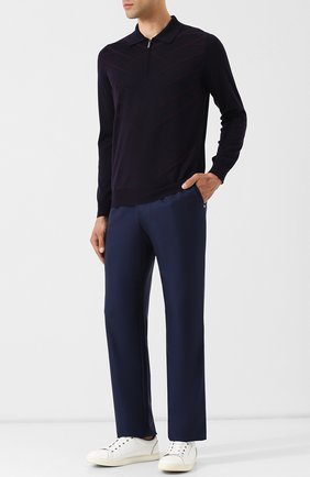 Мужской брюки прямого кроя из смеси шерсти и кашемира ZILLI синего цвета, арт. M0Q-D0081-J0LU1/R001 | Фото 2
