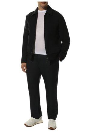 Мужской брюки прямого кроя из смеси шерсти и кашемира ZILLI темно-синего цвета, арт. M0Q-D0081-J0LU1/R001 | Фото 2