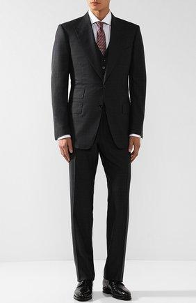 Мужской костюм-тройка из смеси шерсти и шелка TOM FORD темно-серого цвета, арт. 432R00/31AL43 | Фото 1