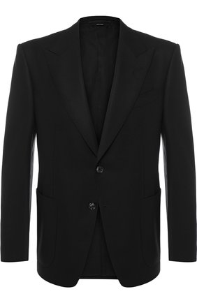 Мужской однобортный пиджак из шерсти TOM FORD черного цвета, арт. 450R20/11HA40 | Фото 1