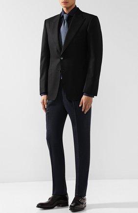 Мужской однобортный пиджак из шерсти TOM FORD черного цвета, арт. 450R20/11HA40 | Фото 2