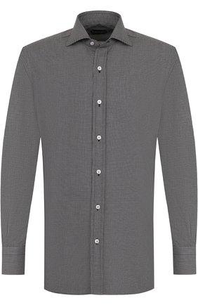 Мужская хлопковая сорочка с воротником кент TOM FORD черно-белого цвета, арт. 4FT830/94C1AX | Фото 1