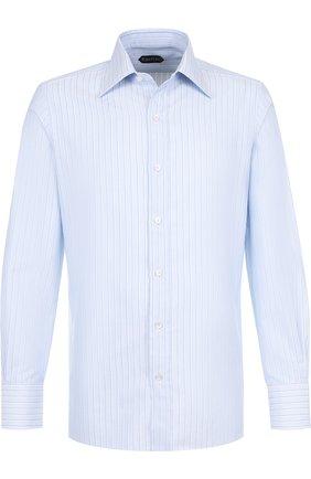 Мужская хлопковая сорочка с воротником кент TOM FORD голубого цвета, арт. 4FT123/94S1JE | Фото 1