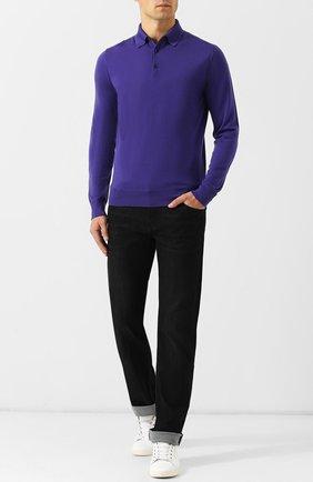 Мужское шерстяное поло с длинными рукавами ERMENEGILDO ZEGNA фиолетового цвета, арт. URM00/132 | Фото 2 (Рукава: Длинные; Длина (для топов): Стандартные; Материал внешний: Шерсть; Кросс-КТ: Трикотаж; Статус проверки: Проверена категория; Застежка: Пуговицы)