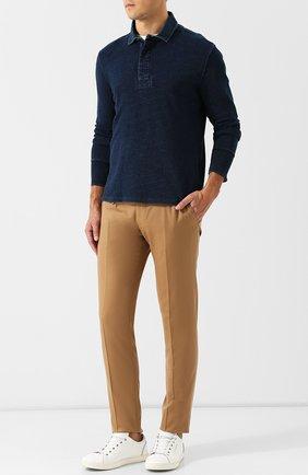 Мужское хлопковое поло с длинными рукавами RRL темно-синего цвета, арт. 782704168 | Фото 2