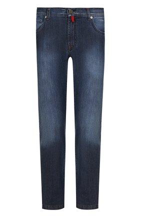 Мужские джинсы прямого кроя с потертостями KITON темно-синего цвета, арт. UPNJS/J02R54 | Фото 1