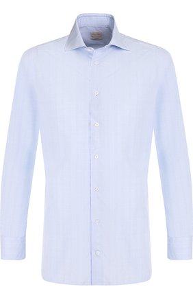 Хлопковая сорочка с воротником кент Luciano Barbera голубая | Фото №1