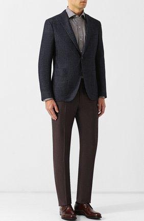 Однобортный пиджак из смеси шерсти и кашемира с шелком Luciano Barbera темно-синий | Фото №1