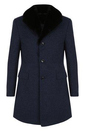 Однобортное кашемировое пальто с воротником из меха норки   Фото №1
