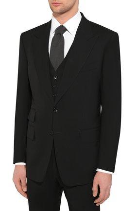 Мужской костюм-тройка из шерсти TOM FORD черного цвета, арт. 422R12/31AL43 | Фото 2
