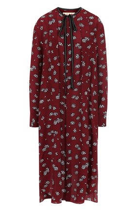 Шелковое платье-миди свободного кроя с принтом Marni бордовое | Фото №1