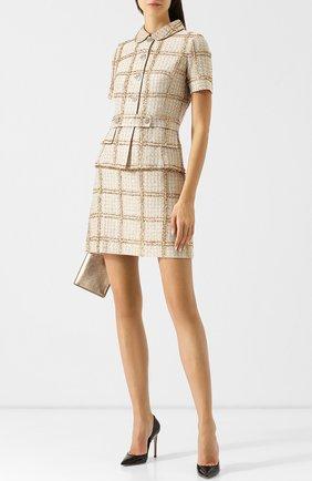 Вязаное мини-платье с декоративными пуговицами St. John золотое | Фото №1