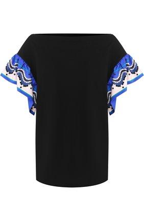 Хлопковая футболка с вырезом-лодочка и контрастными рукавами Emilio Pucci черная | Фото №1