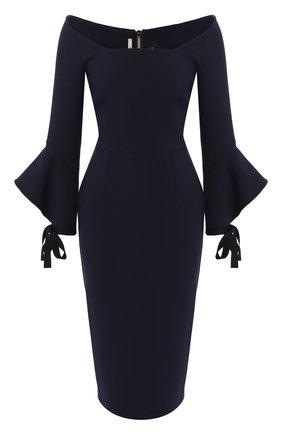 Приталенное платье-миди с расклешенными рукавами Roland Mouret синее   Фото №1