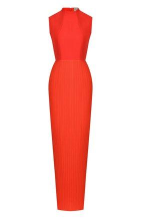 Приталенное платье-макси с воротником-стойкой | Фото №1