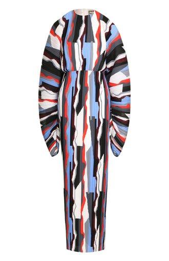 Приталенное платье-макси с принтом и объемными рукавами