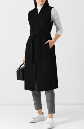 Кашемировый жилет с накладными карманами и поясом Tse черно-белый | Фото №1
