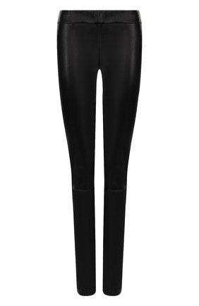 Однотонные кожаные леггинсы The Row черные | Фото №1