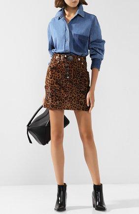 Кожаная мини-юбка с принтом Alexander Wang коричневая | Фото №1
